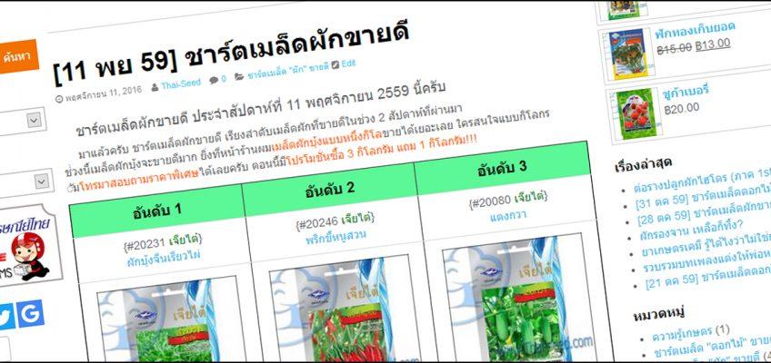 ชาร์ตผัก ผักขายดี thai-seed